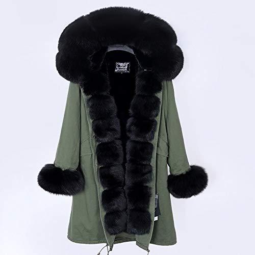 JNXFUZMG 2020 Mujeres de Invierno Abrigo Largo Abrigo de Moda Parques con Capucha Cuello Natural Chaquetas de Invierno (Color : 6, Size : Large)