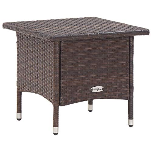 vidaXL Tea Table Weather Resistant Hard-Wearing Rustic Outdoor Garden Backyard Patio Deck Coffee End Couch Tables Poly Rattan Brown