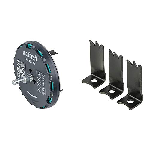 wolfcraft Lochsäge 5978000 – Verstellbarer Universal-Kreisschneider für den Akkuschrauber und die Bohrmaschine & 5979000 3 Ersatzschneiden Lochsäge AH 45-130 Art. Nr. 5978000, 3 Stück
