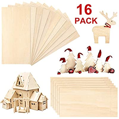 16 Pieces Balsa Wood Sheets Natural Wood 200 x 100 x 1.5 mm Plywood Hobby Wood Board for DIY Crafts Christmas Wooden House Airplane Ship Boat Model