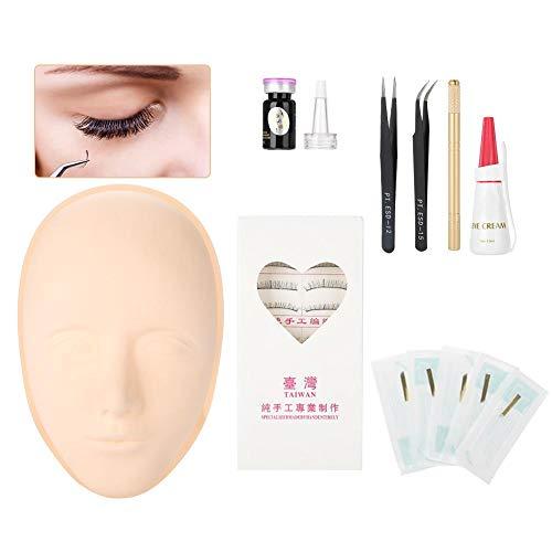 Tête de formation pratique pour les cils, maquillage des cils Extensions de cils pour le maquillage Cosmétologie Tête en matériau souple et souple beige et lisse avec colle pour cils