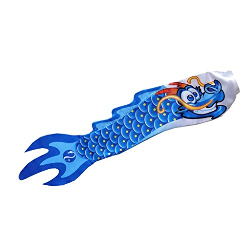 LOVIVER Dragón Chino Manga De Viento Streamer Fish Flag Kite Koinobori Home Outdoor Decoración Colgante - 5 Estilos - Azul