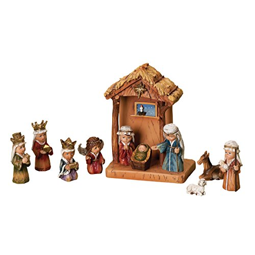 WoodWorks 11-Piece Nativity Set Featuring Children as The Holy Family an Angel, a Shepherd with Sheep and 3 Kings, 8-Inch (36144)