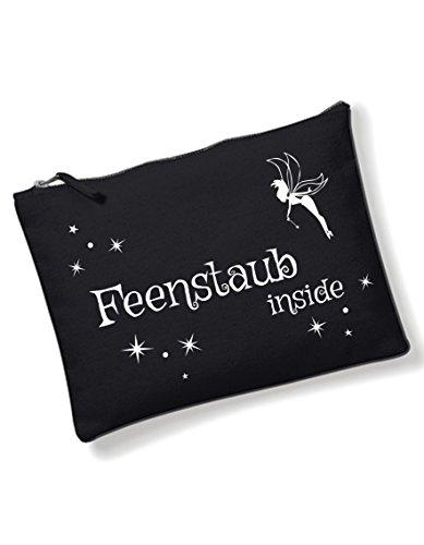 Feenstaub Inside Kosmetiktasche mit coolem Spruch Bedruckt Schwarz kleine Tasche Waschtasche Make up Schminktasche Federtasche