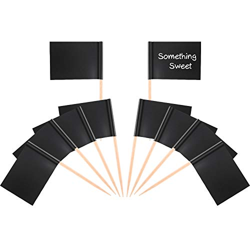 Tatuo 100 Pieces Black Flag Cupcake Toppers Blank Toothpick Flags Cheese Markers Fruit Cocktail Sticks Flag Topper for Party Cake Food Cheeseplate Appetizers