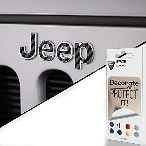 IPG for Jeep Wrangler 2007-2018 Grille Emblem Overlay Sticker - Emblem Do it Yourself Stickers Set Personalize Your Wrangler (Black Carbon Fiber)