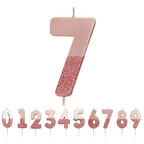 Candela numero 7 con glitter oro rosa  Decorazione per cake topper di qualità premium Pretty, Sparkly  Per bambini, adulti, settimo, settantesimo compleanno, anniversario, pietra miliare