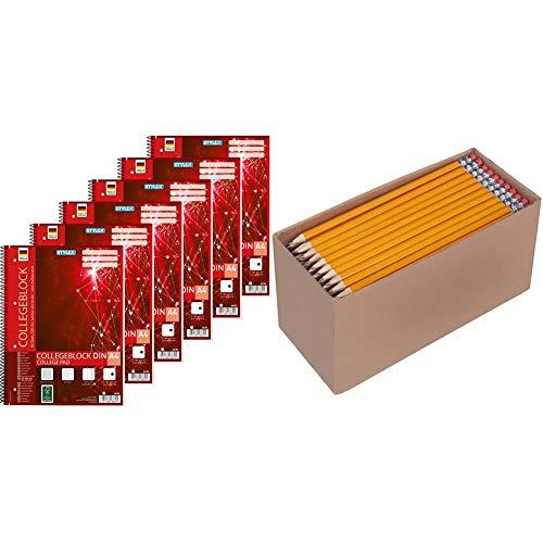 Stylex 43889-P6 - 6x Collegeblock, Spirale, kariert DIN A4, 80 Blatt, 60 g/m² & AmazonBasics - Holzgefasste Bleistifte, HB, vorgespitzt, 30er-Pack