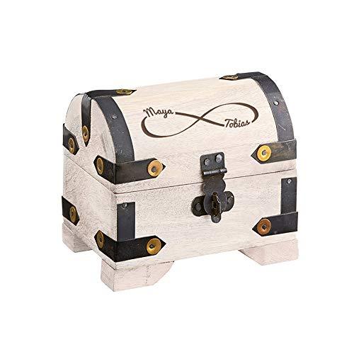 Casa Vivente – Schatztruhe mit Gravur – Unendlichkeits-Zeichen – Personalisiert mit Namen – Schmuckkästchen aus weißem Holz – Geschenkidee Paare zur Hochzeit