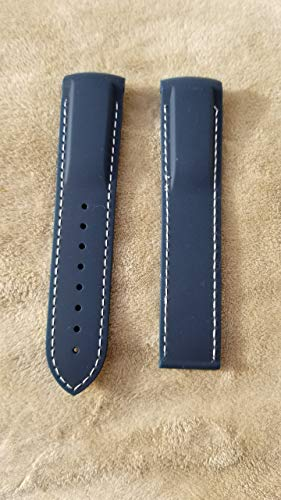 Silicone/Rubber Mens Watch Band Strap FIT for Omega SEAMASTER Planet Ocean (Navy (Dark), 22 MM (with Clasp))