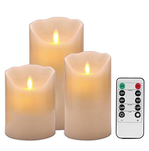 Destyle 本物の炎のように揺れる! LED キャンドルライト 3個セット タイマー機能 リモコン付き 本物の蝋を使用 LEDキャンドル (S・M・L 3個セット)