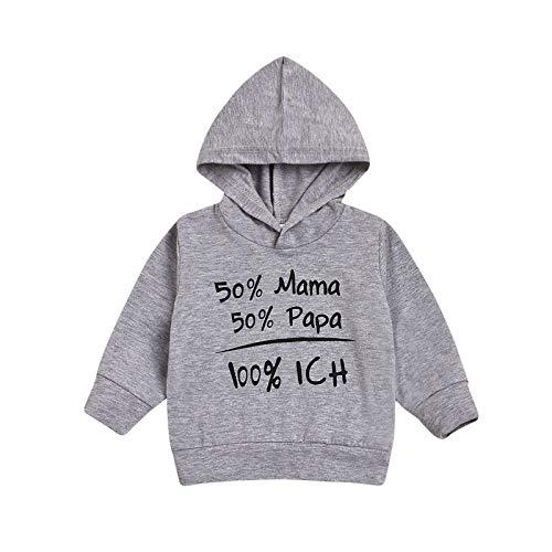 Kapuzenpullover Kleinkind Kinder Kapuzenshirt Jungen Mädchen Hoodie Pullover Buchstaben Druck Winter Hooded Sweatshirt Kleidung, Grau, 3-6 Monate