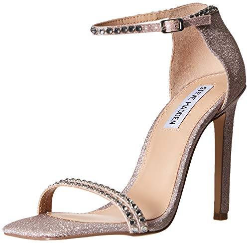 Steve Madden Women's Collette Heeled Sandal, Blush Glitter, 6