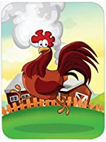 Caroline's Treasures APH7630MP Rooster Chicken on The Run Mouse Pad, Hot Pad or Trivet, Large, Multicolor [並行輸入品]