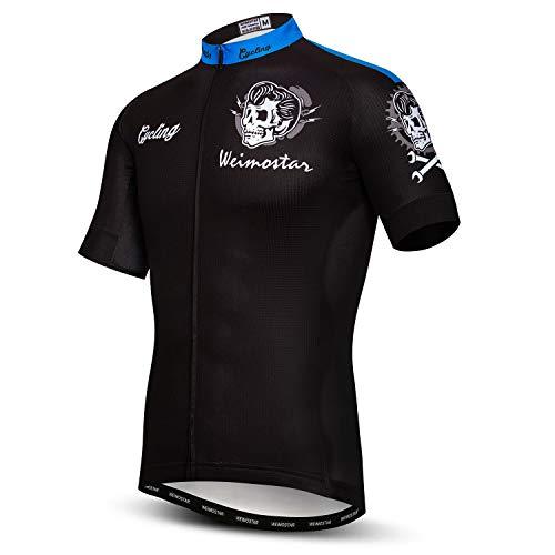 Men Cycling Jersey Skull Bike Short Sleeve Tops Quick-Dry Reflective 3-Pockets S-3XL
