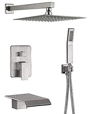 DMDMBATH Shower System Brushed Nickel Shower Faucet Set 3-Function Bathroom Shower Fixtures with Waterfall Tub Spout Wall Mount 10 inch Rain Shower Head (Brushed Nickel)