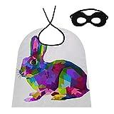 Capas de Mujer Cosplay Conejo Colorido en Estilo Pop Art Conejo para niños Capa de Cosplay Capa para niñas para niños/Adultos Disfraz para Fiesta de Halloween Festival Cumpleaños