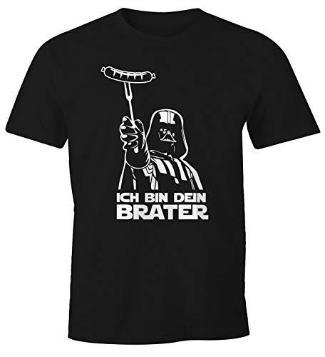 MoonWorks® Herren T-Shirt Ich Bin Dein Brater Fun-Shirt Grillen Barbecue BBQ Fleisch Parodie Nerd schwarz L