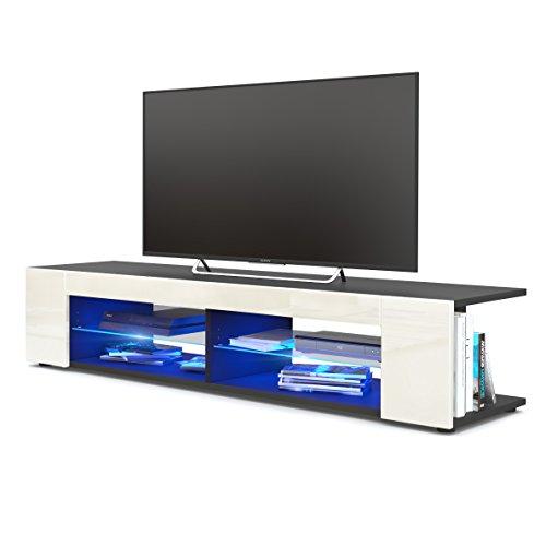 TV Board Lowboard Movie, Korpus in Schwarz matt/Fronten in Creme Hochglanz inkl. LED Beleuchtung in Blau