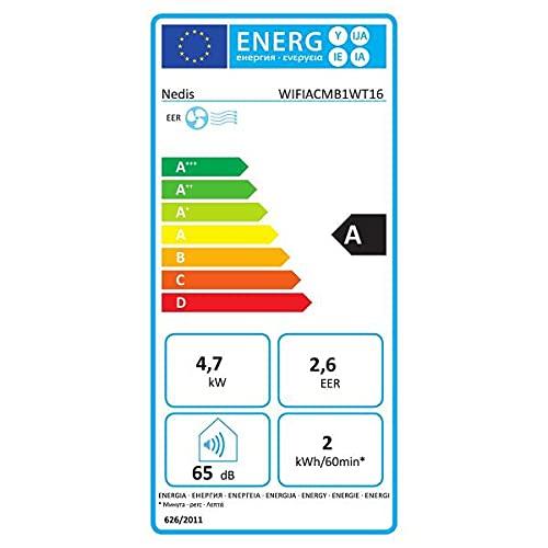 NEDIS Condizionatore | Wi-Fi | 16000 BTU | 140 m³ | Deumidificazione | Android & iOS | Classe energetica: A | 3-velocità | 65 Db | Bianco
