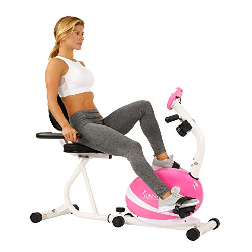 Sunny Health & Fitness Magnetic Recumbent Bike Exercise Bike, 220lb Capacity, Monitor, Pulse Rate Monitoring - P8400