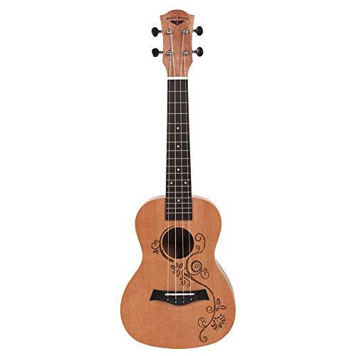 E-Gitarre, 23-Zoll-4-Saiter Mahagoni Hals-Gitarre, Delicate String Ton, Speziell Ohrlöcher, Hawaii-Gitarre Kleine, Geeignet für Musik Anfänger