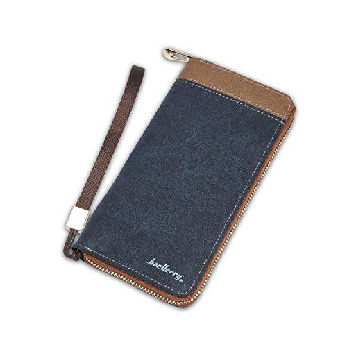 FANDARE New Portamonete Two-fold Zipper Uomo Viaggio Partito Studente Wallet Grande Capacità Traspirante Tela Blu