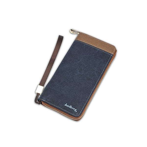 4177fFjVi0L. SS600  - FANDARE New Billetera Hombre Two-Fold Zipper Viaje Estudiantes Party Comercio Gran Capacidad Wallet Transpirable Lienzo Azul