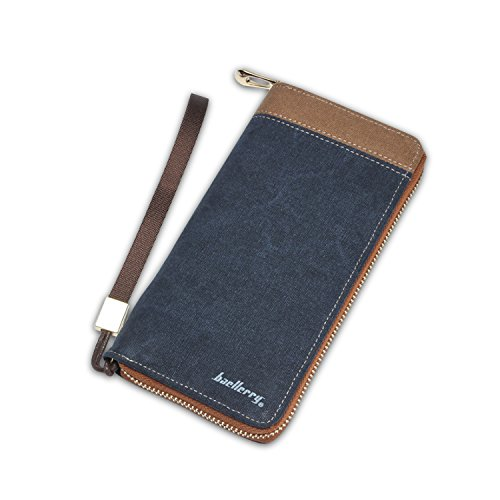4177fFjVi0L - FANDARE New Billetera Hombre Two-Fold Zipper Viaje Estudiantes Party Comercio Gran Capacidad Wallet Transpirable Lienzo Azul