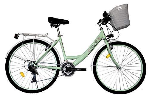 T&Y Trade 26 Zoll Kinder Mädchen Damen City Fahrrad Damenfahrrad Cityfahrrad Citybike Mädchenfahrrad Bike Rad 21 Gang Beleuchtung STVO 5100 GRÜN