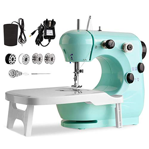 Sewing Machine Double Speed, with Night Light and extendable Table, with Night Light, Portable and Practical, Suitable for Both Beginners and Lovers of Sewing