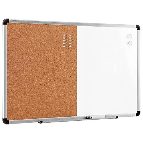 Amazon Basics Tableau blanc magnétique effaçable à sec combiné à un tableau en liège - 91,4 cm x 61 cm