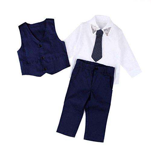 Babybekleidung,Resplend Baby Kinder Hochzeitsanzüge Bekleidungssets Shirts + Weste + Lange Hosen + Krawatte Kleidung Outfits Set 4 Stück Babyanzug (Blau, 2T)