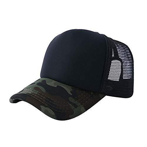 VECOLE Mesh Cap Camouflage Mesh Baseball Cap Verstellbarer Sonnenhut Unisex Leichtgewichtig Atmungsaktiv Weich und komfortabel (Schwarz)