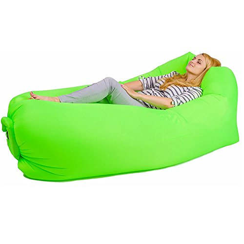 Bry Inflatable Lounger Air Chair Sofa Bed Sleeping Bag Couch for Beach Camping Lake Garden (Green02)
