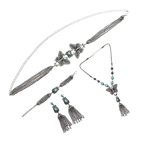 QXZ-WOLFBERRY Pendientes Collar Cadena de Cintura Pulsera de Cuatro Piezas Joyas Bohemias Juego de joyería (Color : Silver)