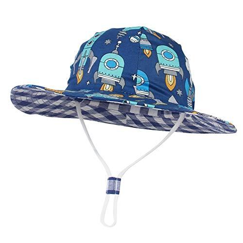 GEMVIE Cappello da Sole Neonato Bucket Hat Anti-UV Cappello Pescatore Bambino Bambina Estivo Protezione Solare per Spiaggia Vacanza Viaggio Outdoor (Blu Scuro, 2-4 Anni)