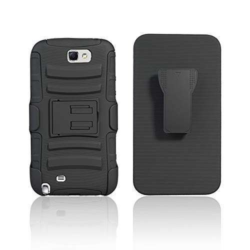 Cocomii Striped Belt Clip Holster Galaxy Note 2 Case, Slim Thin Matte Kickstand Swivel Belt Clip Holster Reinforced Drop Protection Fashion Phone Case Bumper Cover for Samsung Galaxy Note 2 (Black)