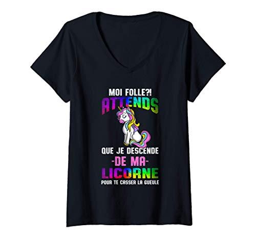 Femme Moi Folle ?! Licorne Humour Unicorn Boxing Femme Cadeau T-Shirt avec Col en V