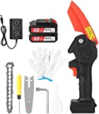 lifcasual Mini Chainsaw 4-Inch Cordless Electric Portable Handheld Pruning Saw Tree Branch Pruner Shears Tool for Garden Tree Trimming Wood Cutting, 21V,with 2 Pack 2.0A Rechargeable Lithium Battery