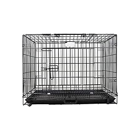 Dog Trust-Double Door Folding Metal cage with Removable Tray and paw Protector for Dogs,Cats and Rabbits 30 inch (Black)