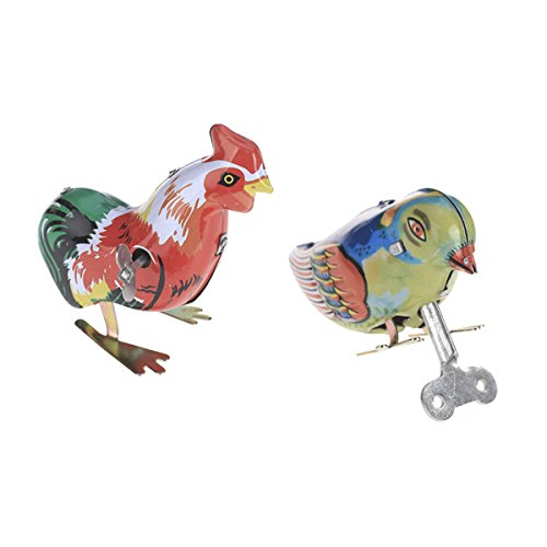 Baoblaze Retro Wind Up Picken Küken + Vogel Uhrwerk Blechspielzeug Adult Collectable Favor Geschenk