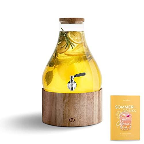Glas Getränkespender 5,5 L Gloria mit Edelstahl-Zapfhahn & Ständer aus Eichenholz, Limonaden-Spender, Vintage Design Mason Jar