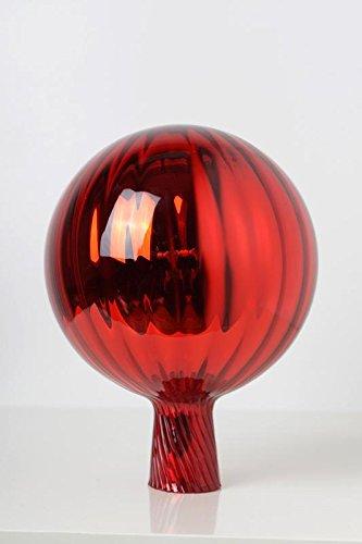 Rosenkugel aus Glas für den Garten – perfekte handgemachte Garten-Dekoration für Ihr Blumenbeetin vielen Farben, Formen und Größen, Hoche 23cm und Durchschnittlich 18cm, Rot