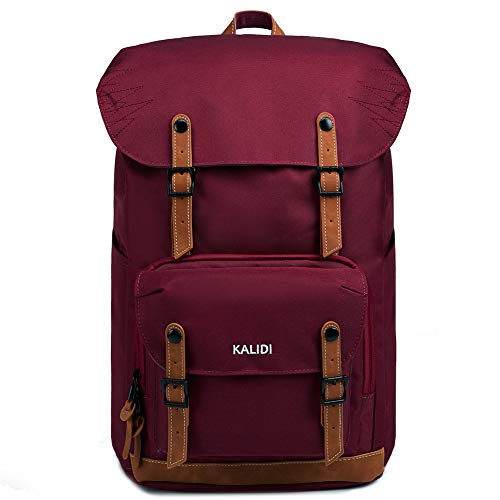 KALIDI Backpack Men Stylish Laptop Backpack Casual Lightweight Rucksack Travel Hiking Outdoor Backpack Schoolbag for 17 Inch Laptop (Wine red)