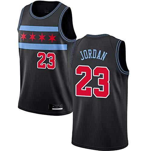 YDYL-LI Jersey Men's, NBA Chicago Bulls # 23 Michael Jordan, Camisas Deportivas Baloncesto Swordman Jersey Sportswear 100% Poliéster Tela De Malla Transpirable,Negro,XL(180~185CM)