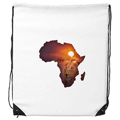 Leeuw Prairie Afrikaanse Continent Naam Kaart Trekkoord Rugzak Winkelen Sport Tassen Gift
