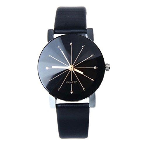 LCLrute Beiläufige Quarz-Lederband Newv Bügel-Uhr-analoge Armbanduhr der Frauen der Männer (E)