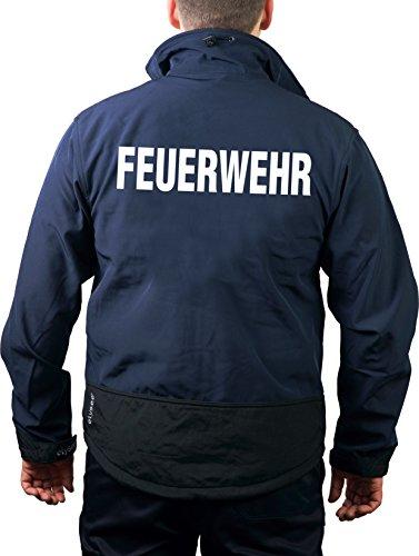 feuer1 WorkSoftshelljacke Navy, Feuerwehr in weiß
