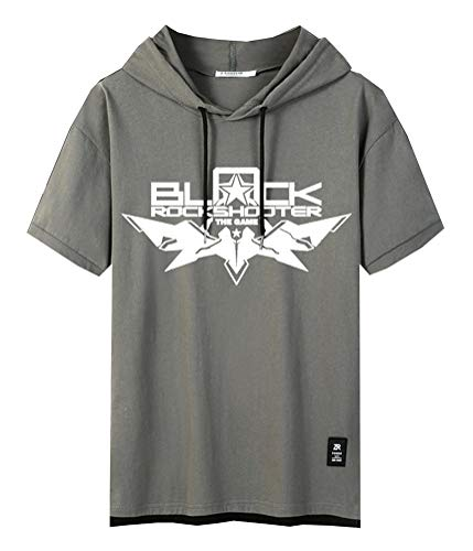 WANHONGYUE Anime Black Rock Shooter Sweat-Shirt à Capuche Manche Courte T-Shirt Homme Hip Hop Hoodie Pullover Tee Tops Green-1-M